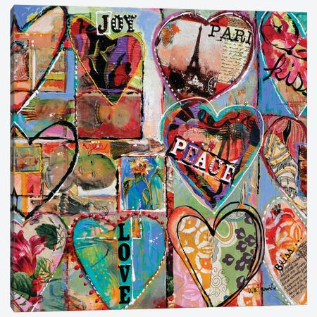Joy Love Peace Canvas Print #CWB92} by Carole Rae Watanabe Canvas Wall Art