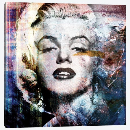 Grunge Marilyn Canvas Print #CWD26} by Caroline Wendelin Canvas Wall Art