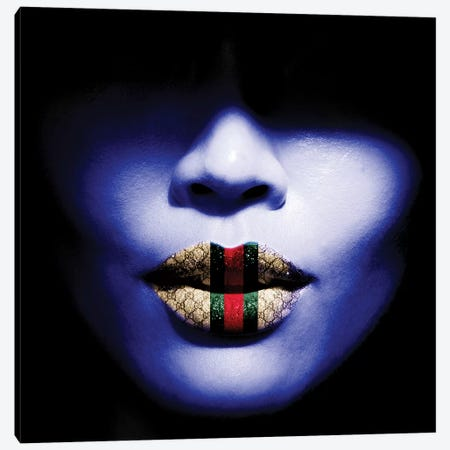 Gucci Lips Canvas Print #CWD27} by Caroline Wendelin Canvas Art