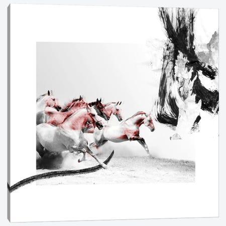 Horse Race 3-Piece Canvas #CWD29} by Caroline Wendelin Canvas Art Print