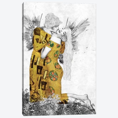 The Kiss-Homage To Klimt Canvas Print #CWD54} by Caroline Wendelin Canvas Print