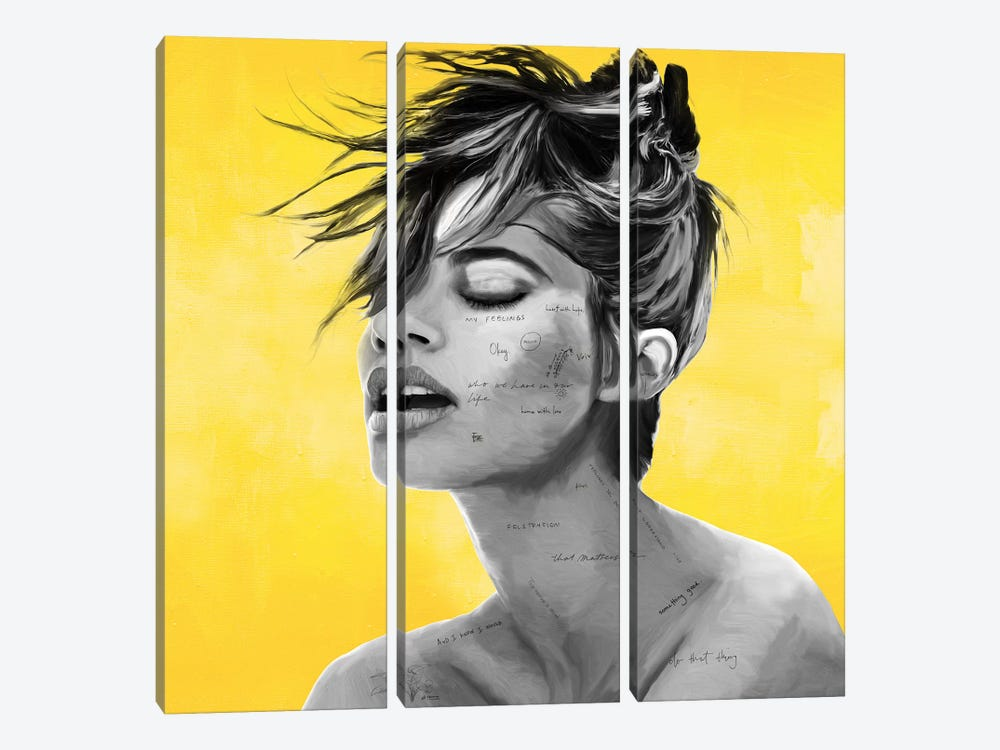 Yellow by Caroline Wendelin 3-piece Canvas Wall Art