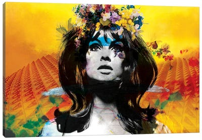 Sunset with Jean Shrimpton Canvas Art Print
