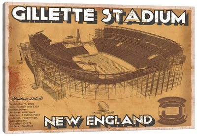 New England Gillette Stadium Brown Canvas Art Print
