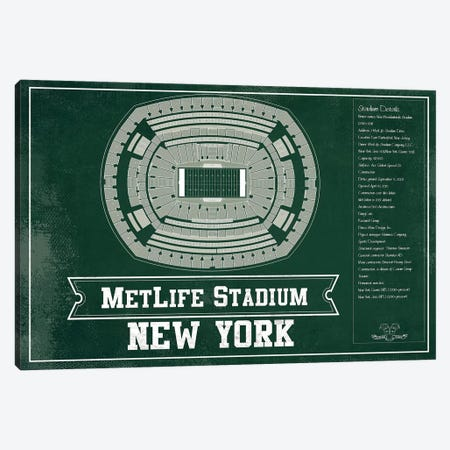 New York Metlife Stadium In Team Colors Canvas Print #CWE109} by Cutler West Canvas Artwork