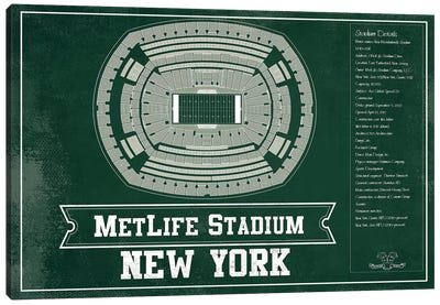 New York Metlife Stadium In Team Colors Canvas Art Print
