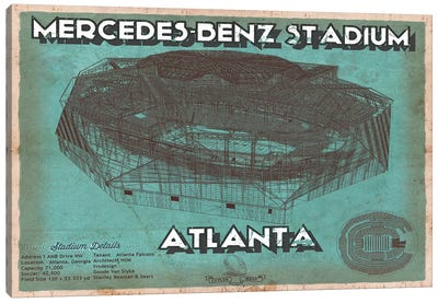 Atlanta Mercedes Benz Stadium Blue Canvas Art Print