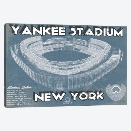 New York Yankees Stadium Blue Canvas Print #CWE111} by Cutler West Art Print