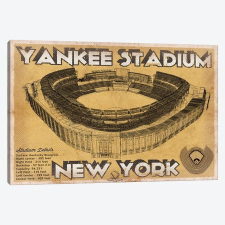 New York Yankees Stadium Brown Canvas Print #CWE112} by Cutler West Art Print