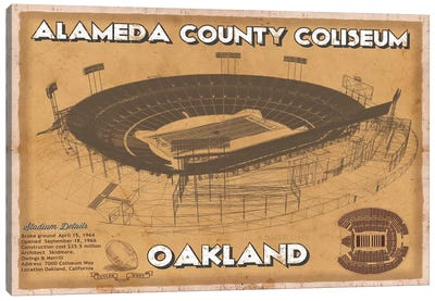 Oakland Alameda County Coliseum II Canvas Art Print