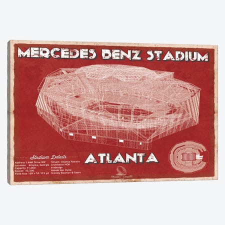Atlanta Mercedes Benz Stadium In Team Colors Canvas Print #CWE11} by Cutler West Canvas Art Print