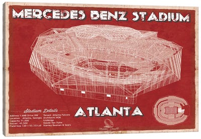 Atlanta Mercedes Benz Stadium In Team Colors Canvas Art Print