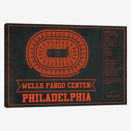 Philadelphia Wells Fargo Center In Team Colors Canvas Print #CWE121} by Cutler West Canvas Artwork