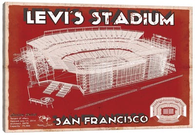 San Francisco Levi's Stadium In Team Colors Canvas Art Print