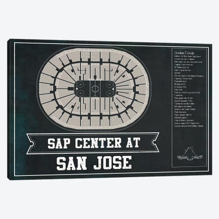 San Jose SAP Center In Team Colors Canvas Print #CWE133} by Cutler West Canvas Art Print
