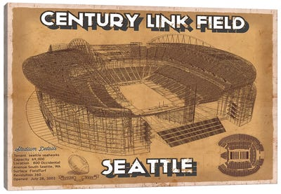 Seattle Century Link Field In Brown Canvas Art Print
