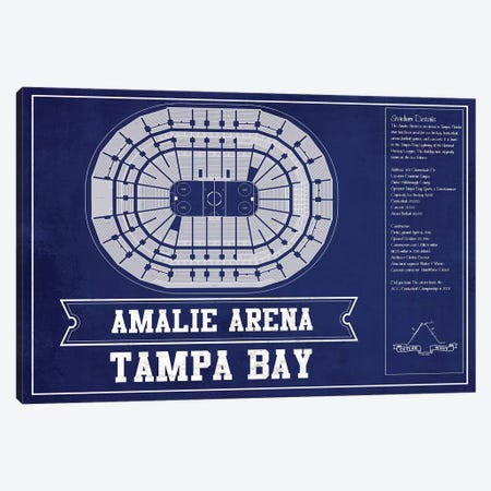Tampa Bay Amalie Arena In Team Colors Canvas Print #CWE143} by Cutler West Canvas Wall Art