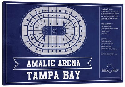 Tampa Bay Amalie Arena In Team Colors Canvas Art Print