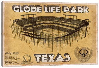 Texas Globe Life Park Canvas Art Print