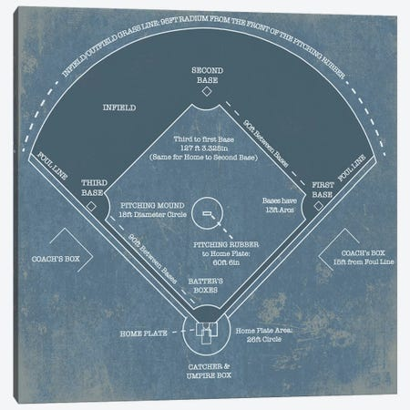 Baseball Diamond Blueprint Canvas Print #CWE18} by Cutler West Art Print