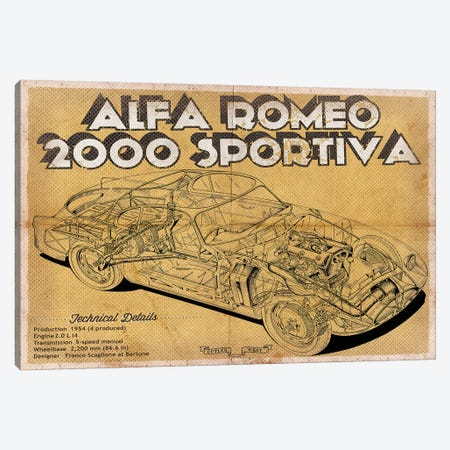 Alfa Romeo 2000 Sportiva Canvas Print #CWE1} by Cutler West Art Print