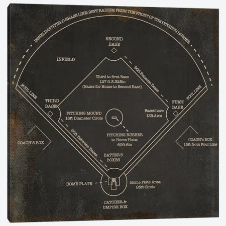 Baseball Diamond Rustic Canvas Print #CWE20} by Cutler West Canvas Artwork