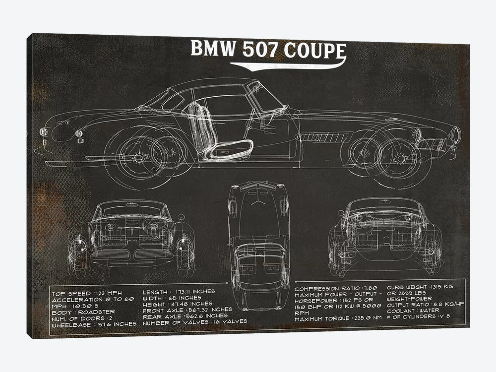 BMW 507 Coupe Rustic by Cutler West 1-piece Art Print