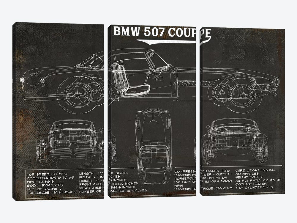 BMW 507 Coupe Rustic by Cutler West 3-piece Canvas Art Print