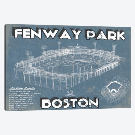 Boston Fenway Park Blueprint Canvas Print #CWE23} by Cutler West Canvas Wall Art