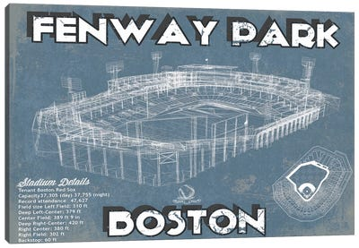 Boston Fenway Park Blueprint Canvas Art Print