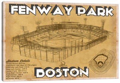 Boston Fenway Park Brown Canvas Art Print