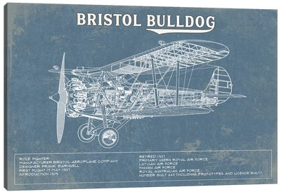 Bristol Bulldog Blueprint Canvas Art Print