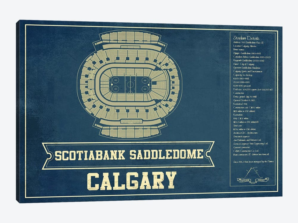 Calgary Scotiabank Saddledome by Cutler West 1-piece Canvas Print