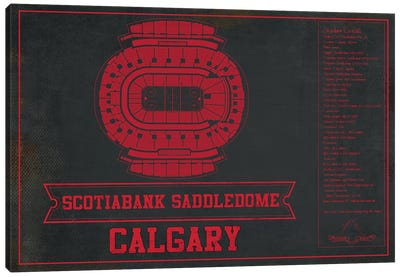 Calgary Scotiabank Saddledome In Team Colors Canvas Art Print
