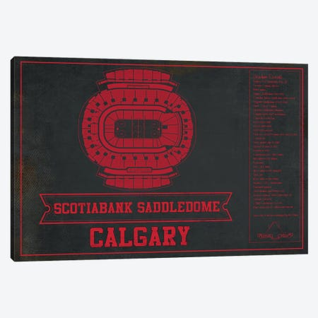 Calgary Scotiabank Saddledome In Team Colors Canvas Print #CWE32} by Cutler West Art Print