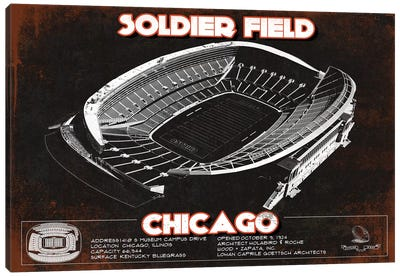 Chicago Soldier Field In Team Colors Canvas Art Print
