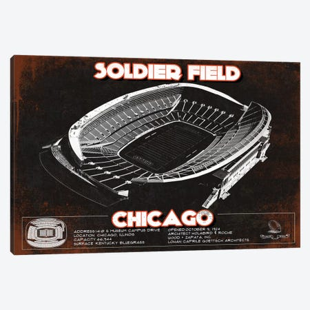 Chicago Soldier Field In Team Colors Canvas Print #CWE35} by Cutler West Canvas Artwork