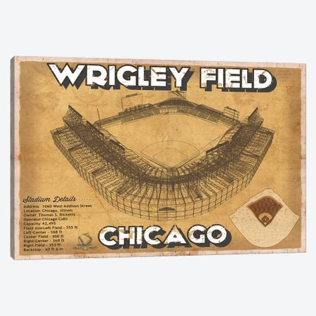 Chicago Wrigley Field  Brown Canvas Print #CWE38} by Cutler West Art Print