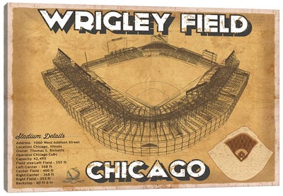 Chicago Wrigley Field  Brown Canvas Art Print