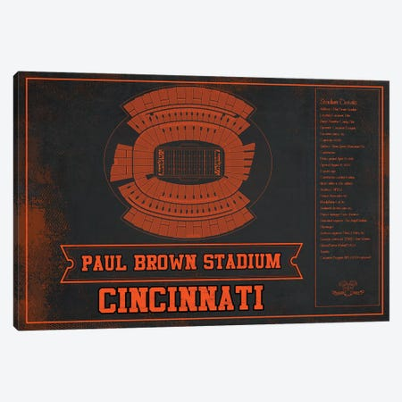 Cincinnati Paul Brown Stadium In Team Colors Canvas Print #CWE40} by Cutler West Canvas Art