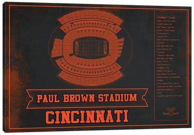 Cincinnati Paul Brown Stadium In Team Colors Canvas Art Print