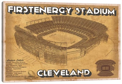 Cleveland First Energy Stadium Canvas Art Print