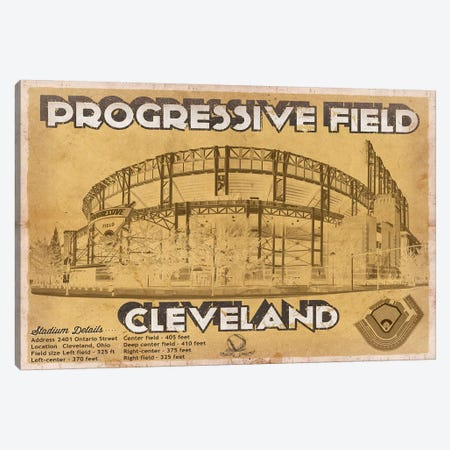 Cleveland Progressive Field I Canvas Print #CWE42} by Cutler West Canvas Artwork