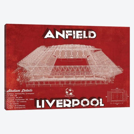 Anfield In Team Colors Canvas Print #CWE4} by Cutler West Canvas Artwork