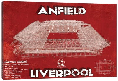 Anfield In Team Colors Canvas Art Print
