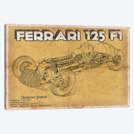 Ferrari 125 F1 Canvas Print #CWE52} by Cutler West Art Print