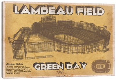 Green Bay Lambeau Field II Canvas Art Print