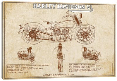 1930  Harley Davidson VL (Brown) Canvas Art Print
