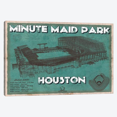 Houston Minute Maid Park Aqua Canvas Print #CWE61} by Cutler West Canvas Artwork