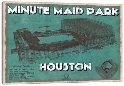 Houston Minute Maid Park Aqua Canvas Art Print